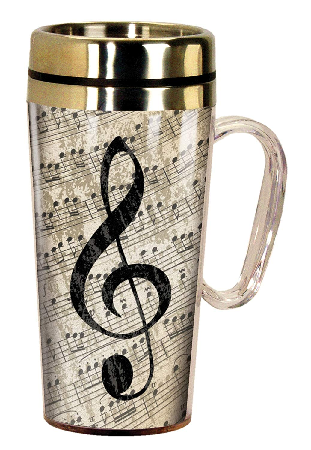 Elegant Music Design Travel Mug 15 Oz Live Breathe Create Music