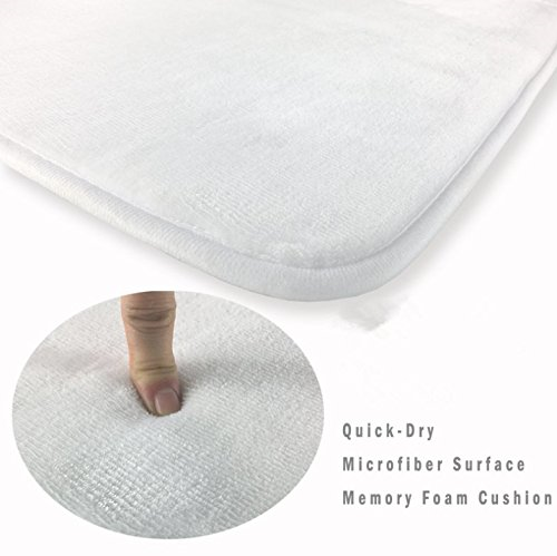 Picture showing a close up of a bathroom rug and it's Features, Quick-Dry, Microfiber Surface, and Memory Foam Cushion