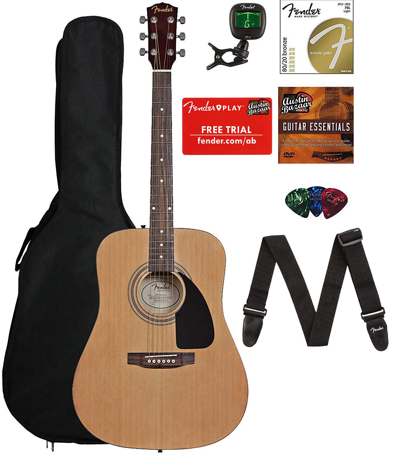 All the conents of the Fender FA-115 Beginner Acoustic Guitar Bundle, including the guitar.