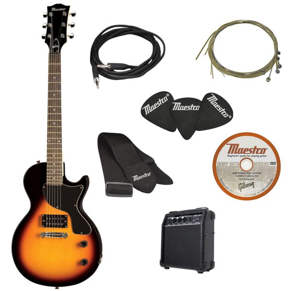 Contents of the Vintage Sunburst Maestro Electric Guitar Starter Package