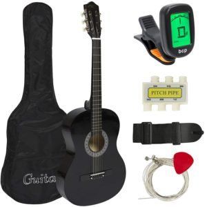 "Showing all the contents for the Best Choice 38"" Beginner Acoustic Guitar; which are: The Guitar; Guitar Case; Strap; Digital Tuner; Guitar Pick; Pitch Pipe; and Strings"