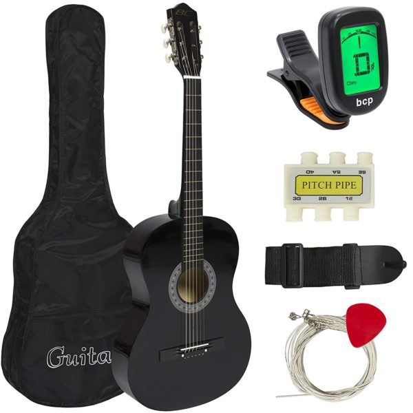 """Showing all the contents for the Best Choice 38"""" Beginner Acoustic Guitar; which are: The Guitar; Guitar Case; Strap; Digital Tuner; Guitar Pick; Pitch Pipe; and Strings"""