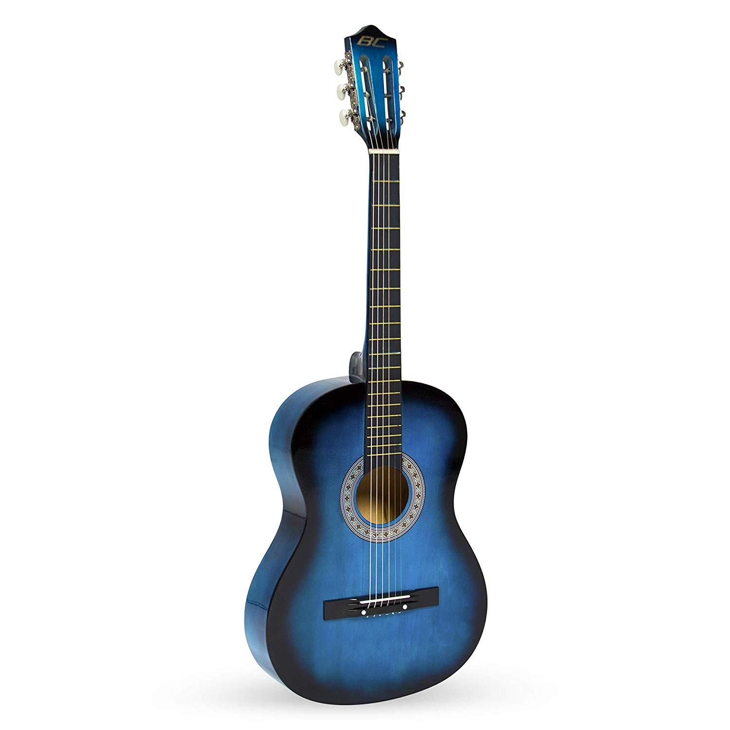Best Choice 38inch Beginner Blue Acoustic Guitar Standing upright by itself