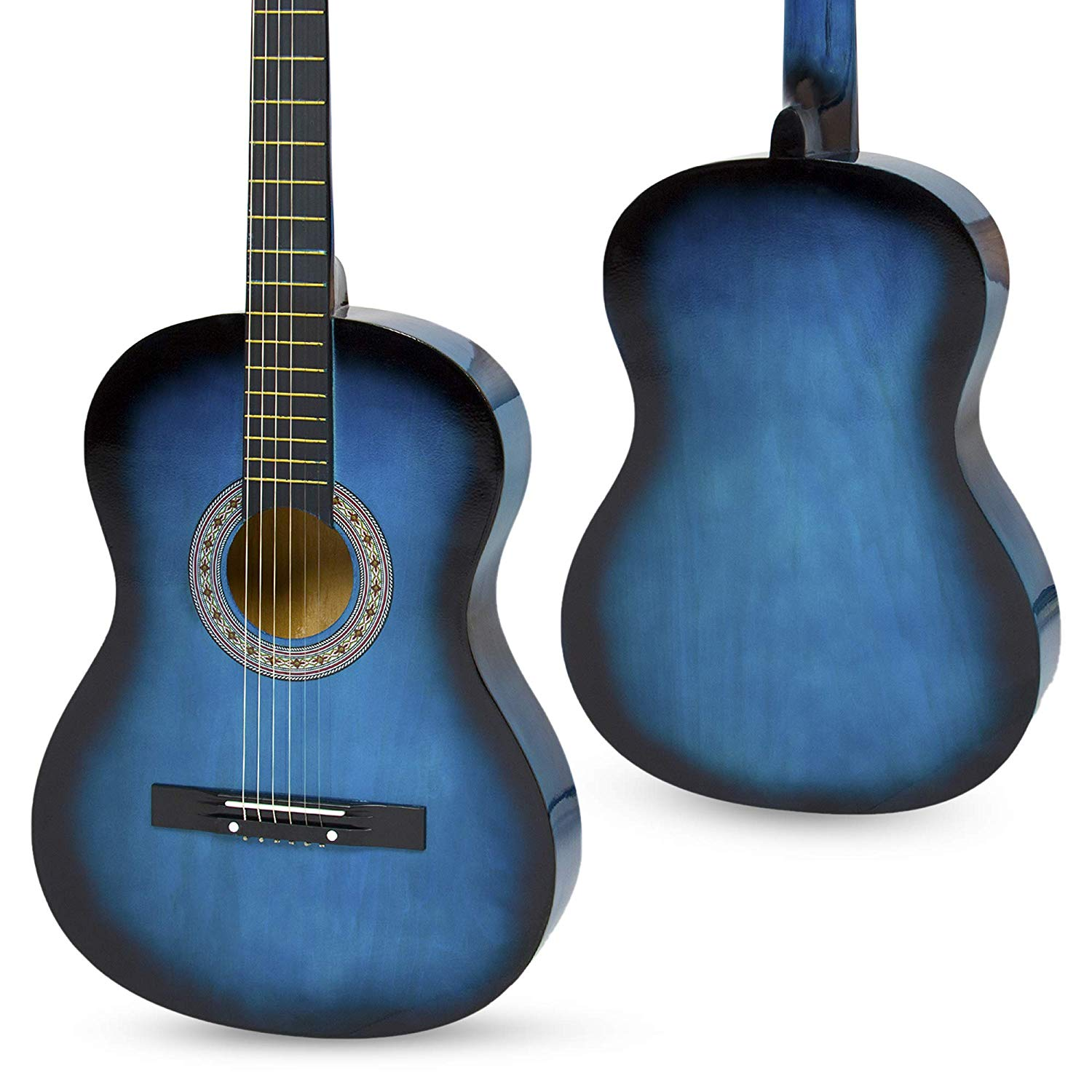 Front and backside of the Best Choice 38inch Beginner Blue Acoustic Guitar
