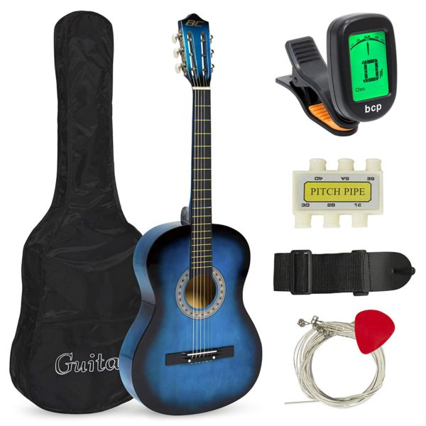 "Showing all the contents for the Best Choice 38"" Beginner Blue Acoustic Guitar; which are: The Guitar; Guitar Case; Strap; Digital Tuner; Guitar Pick; Pitch Pipe; and Strings"