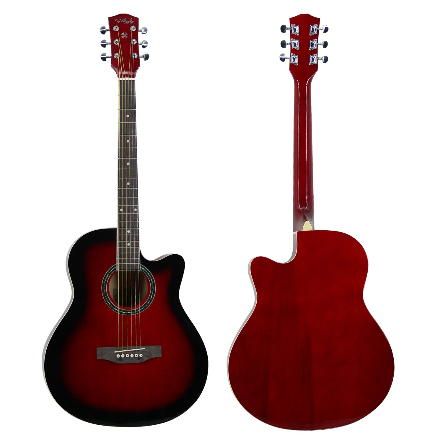 Front and Back View of the whole Redburst Bailando 40' Cutaway Acoustic Guitar
