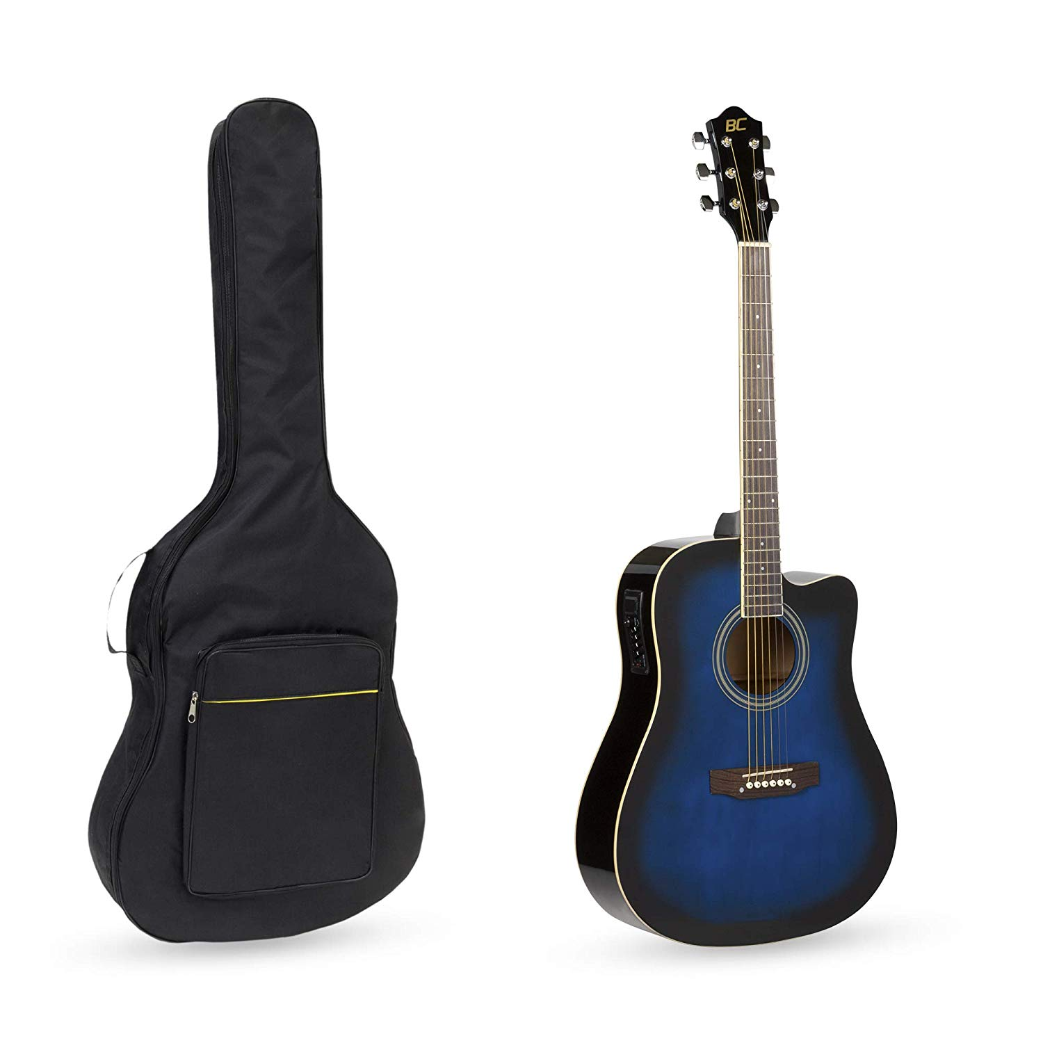 The Blue Colored BC Acoustic-Electric Guitar and Guitar Gig bag standing side by side