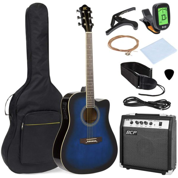 All the package contents that come with the BC Blue Acoustic-Electric Guitar