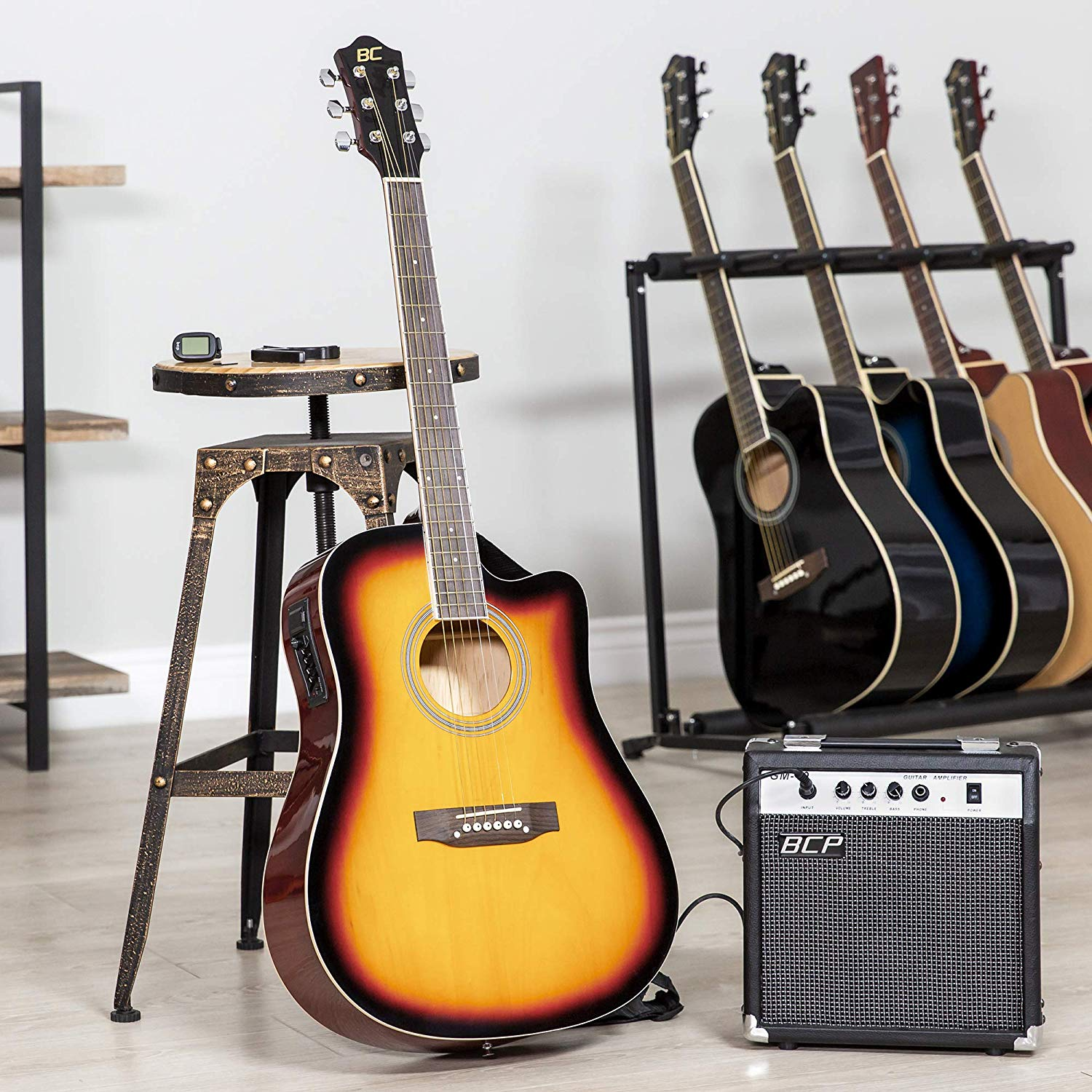 The Sunburst Colored BC Acoustic-Electric Guitar standing upright on display