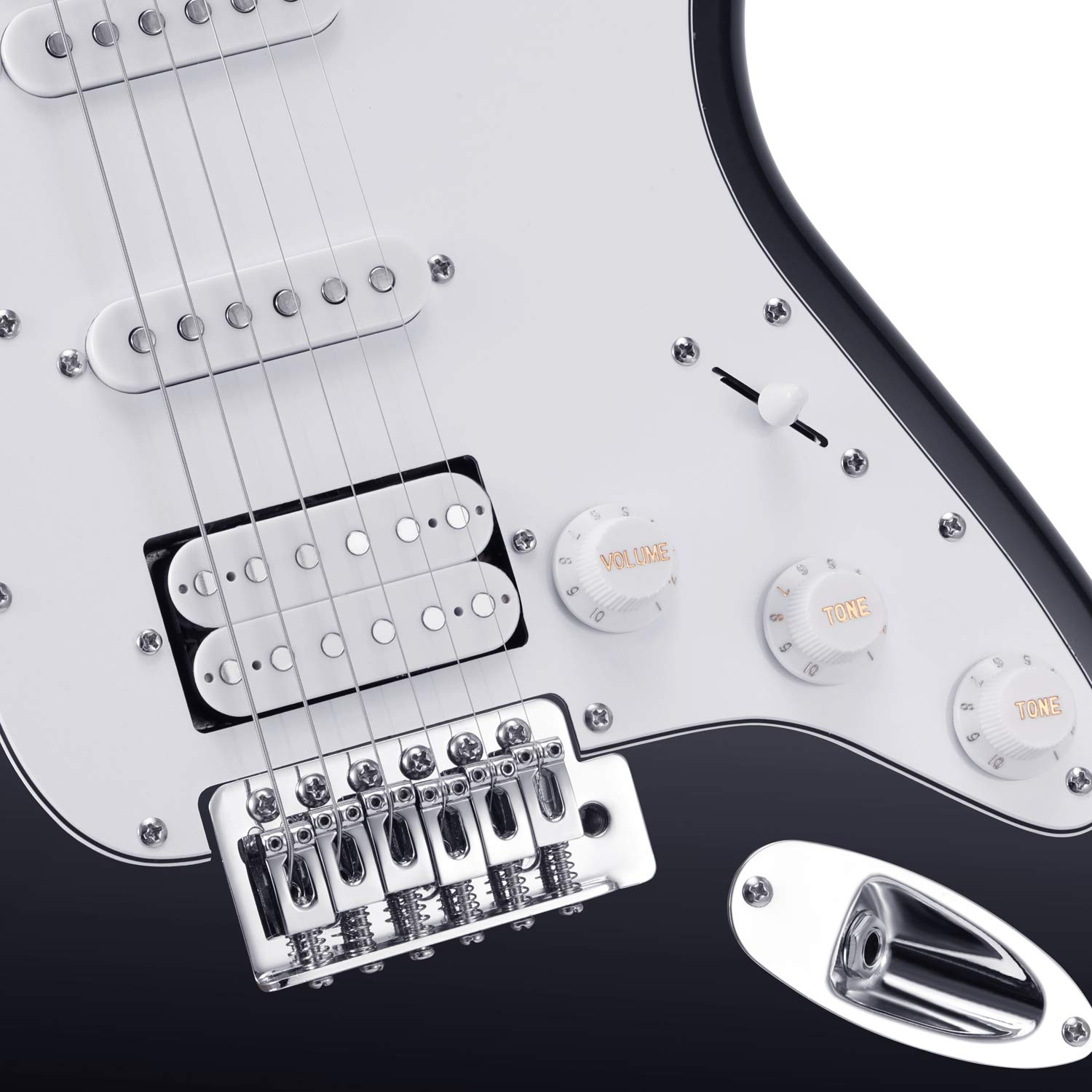 Close-up of the Body of the Donner DST-1B Black Electric Guitar