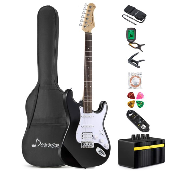 Contents of the Donner DST-1B Black Electric Guitar Kit