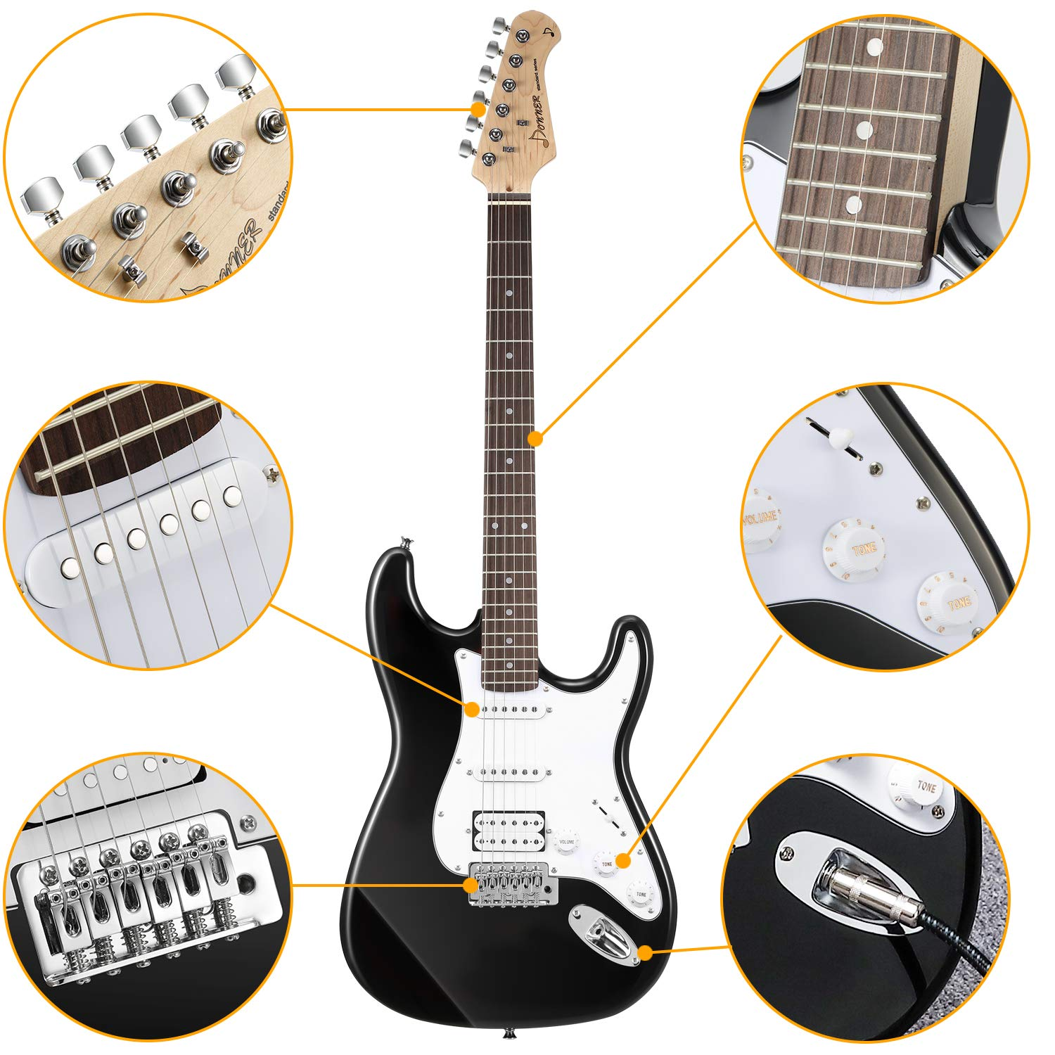 Close-up of different parts of the Donner DST-1B Black Electric Guitar