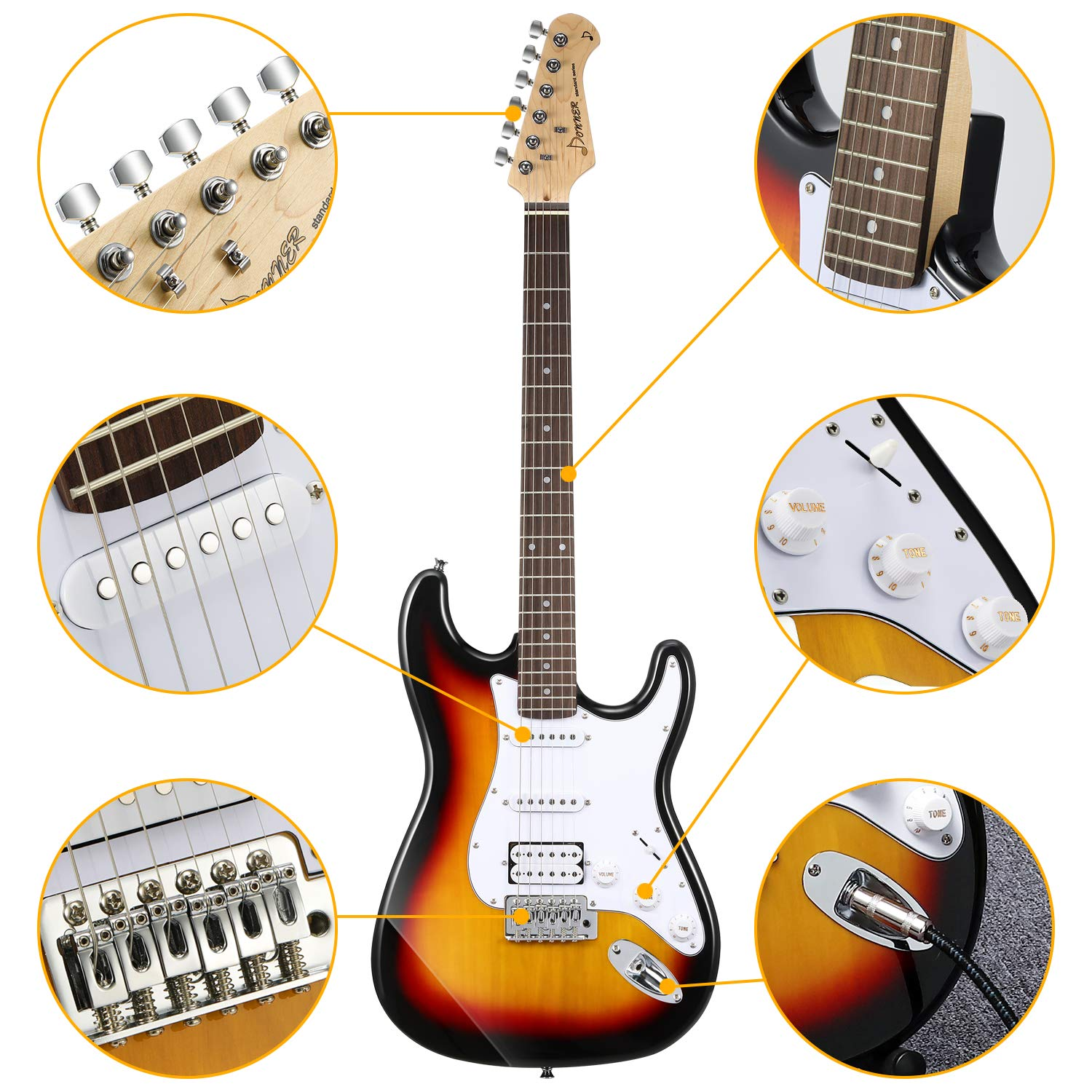Close-up of different parts of the Donner DST-1S Sunburst Electric Guitar
