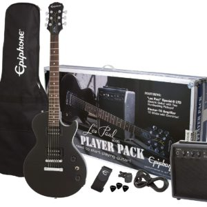 Showing all the contents of the Ebony Colored Les Paul Electric Guitar Player Pack