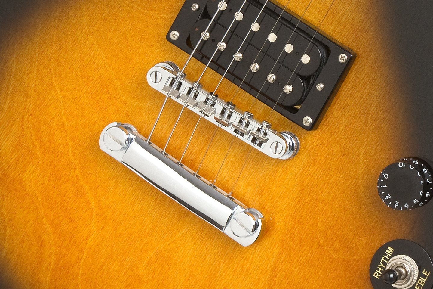 A Closeup of the base part of the Vintage Sunburst Epiphone Electric Guitar