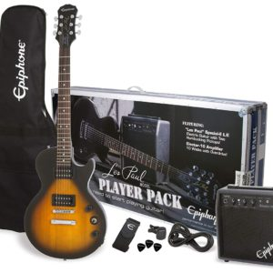 Showing all the contents of the Vintage Sunburst Colored Epiphone Les Paul Electric Guitar Player Pack
