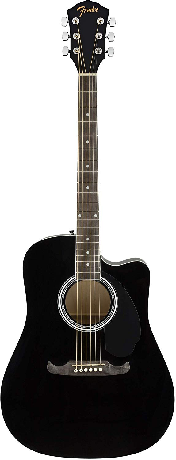 Front View of the Black Fender FA-125CE Dreadnought Cutaway AEG