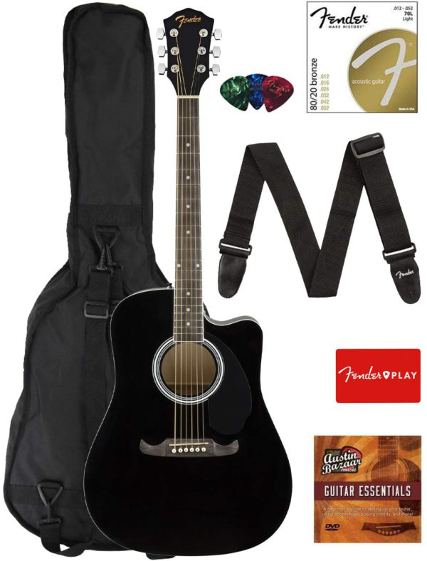 Contents of the Black Fender FA-125CE Dreadnought Cutaway AEG Bundle with Gig Bag
