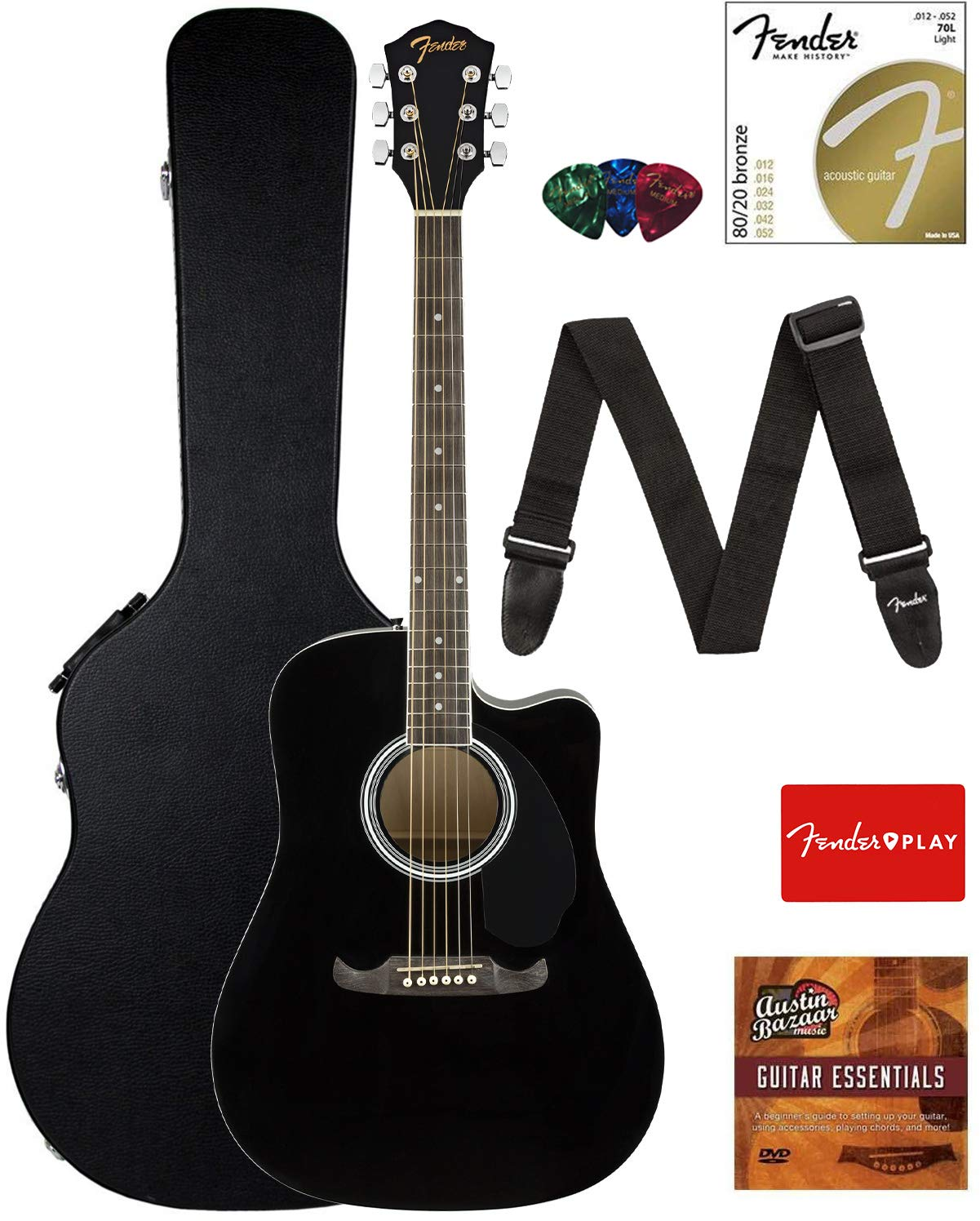 Contents of the Black Fender FA-125CE Dreadnought Cutaway AEG Bundle with Hard Case