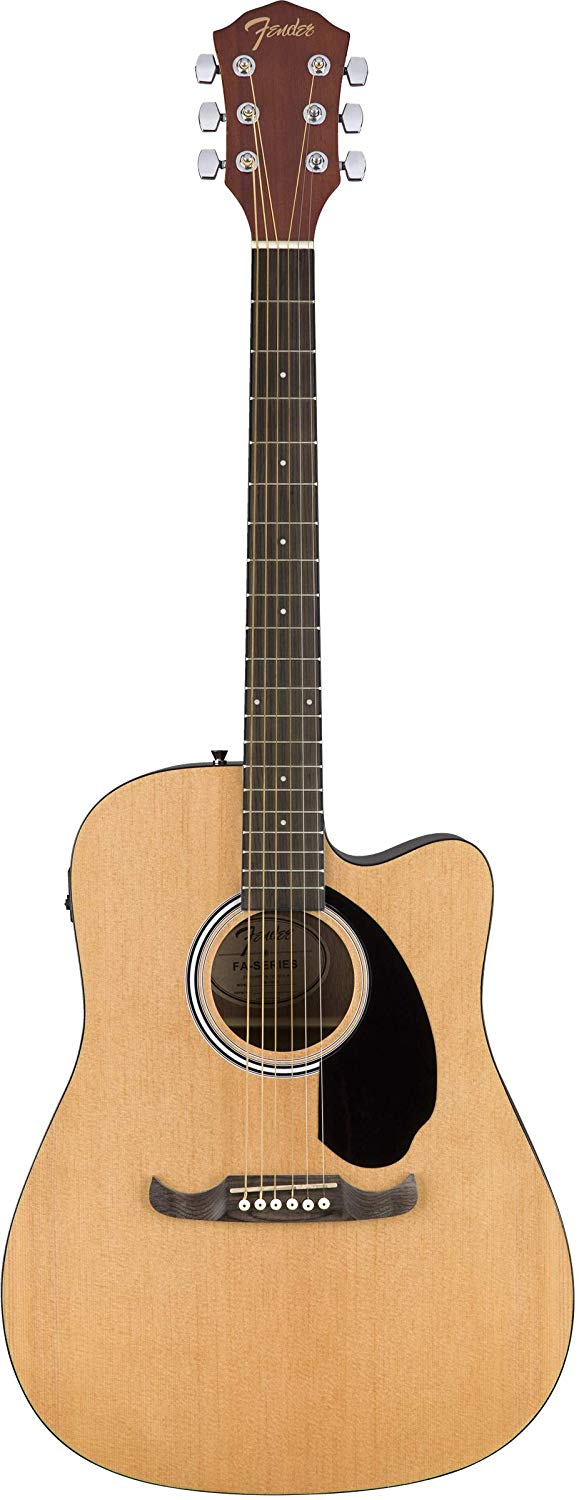Front View of the Natural Fender FA-125CE Dreadnought Cutaway AEG