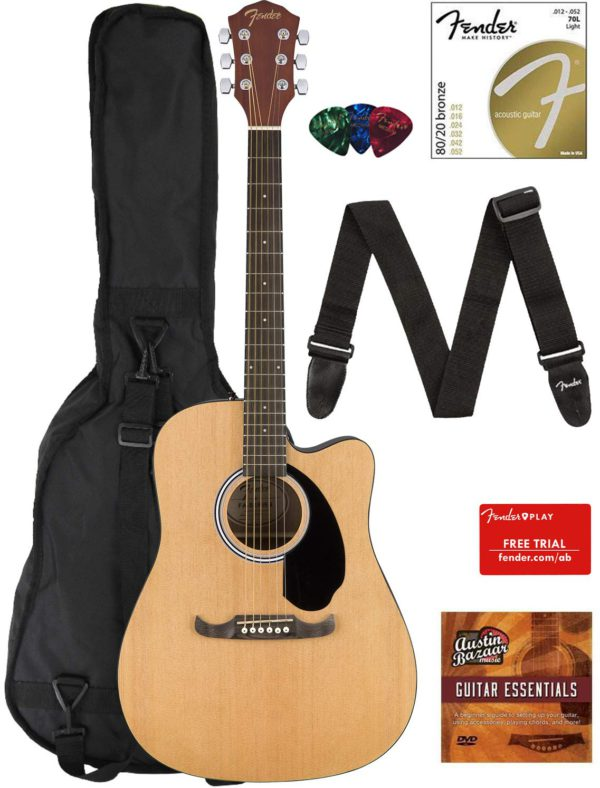 Contents of the Natural Fender FA-125CE Dreadnought Cutaway AEG Bundle with Gig Bag