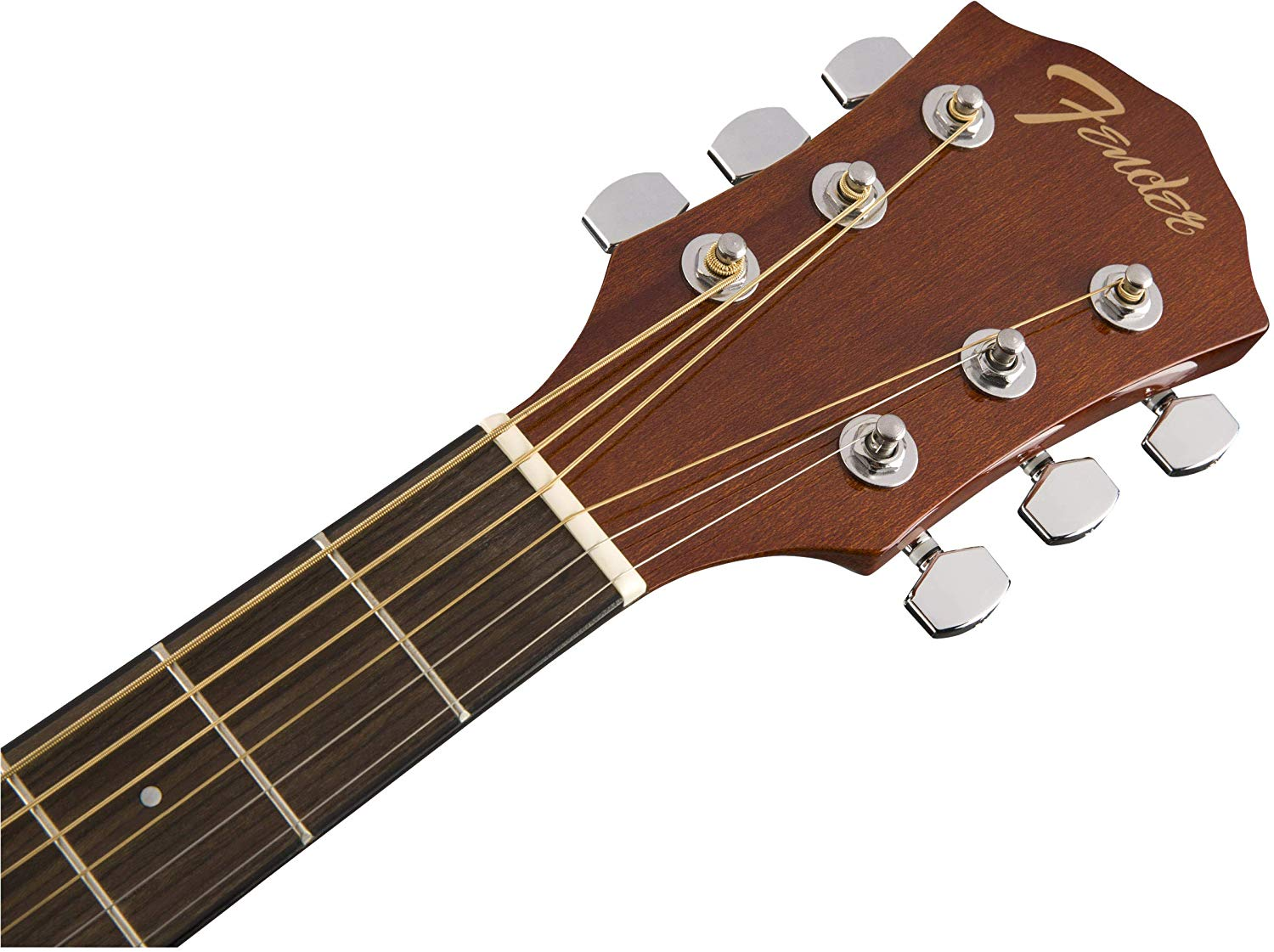 Close-up of the Neck and Head on the Natural Fender FA-125CE Dreadnought Cutaway AEG