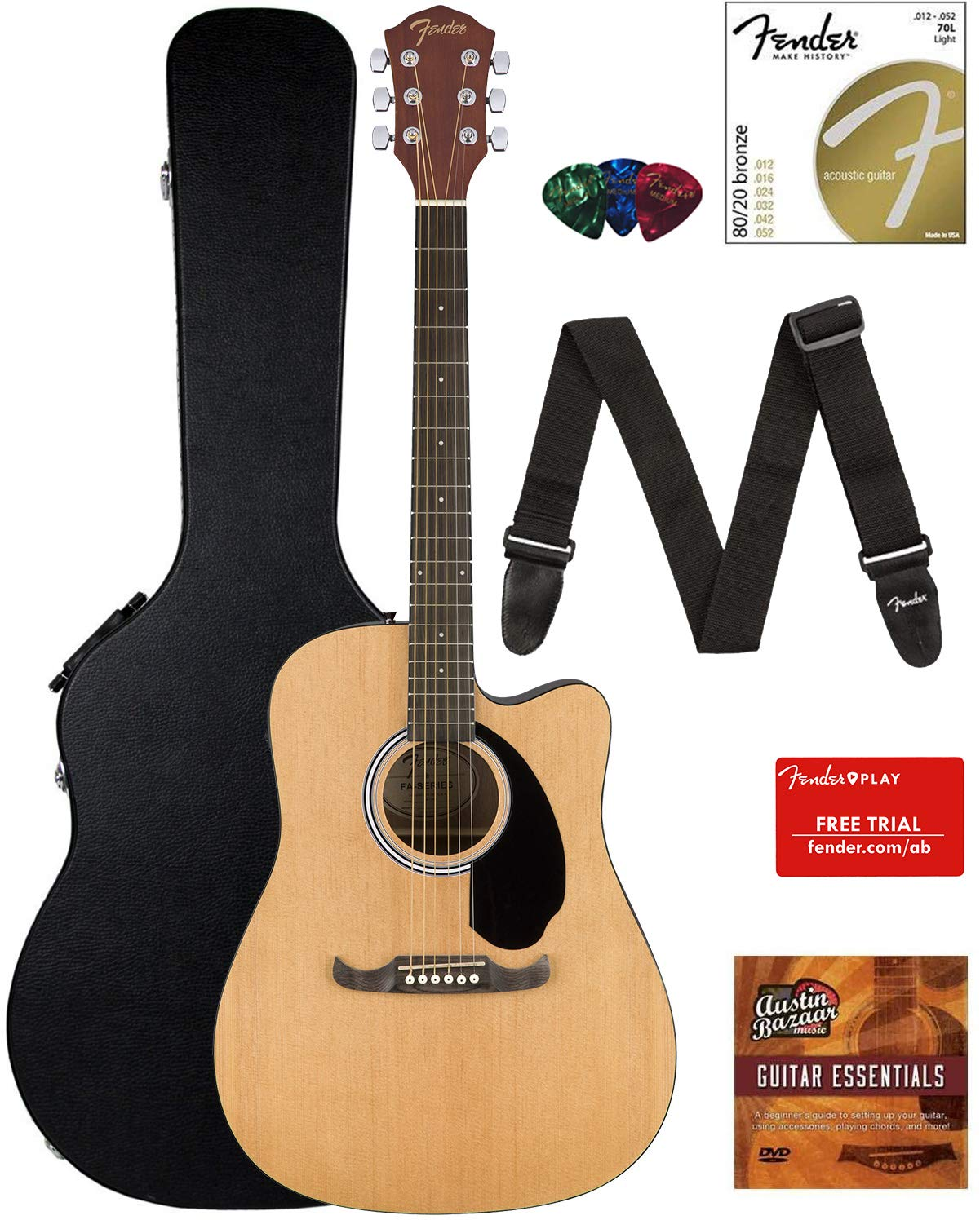 Contents of the Natural Fender FA-125CE Dreadnought Cutaway AEG Bundle with Hard Case
