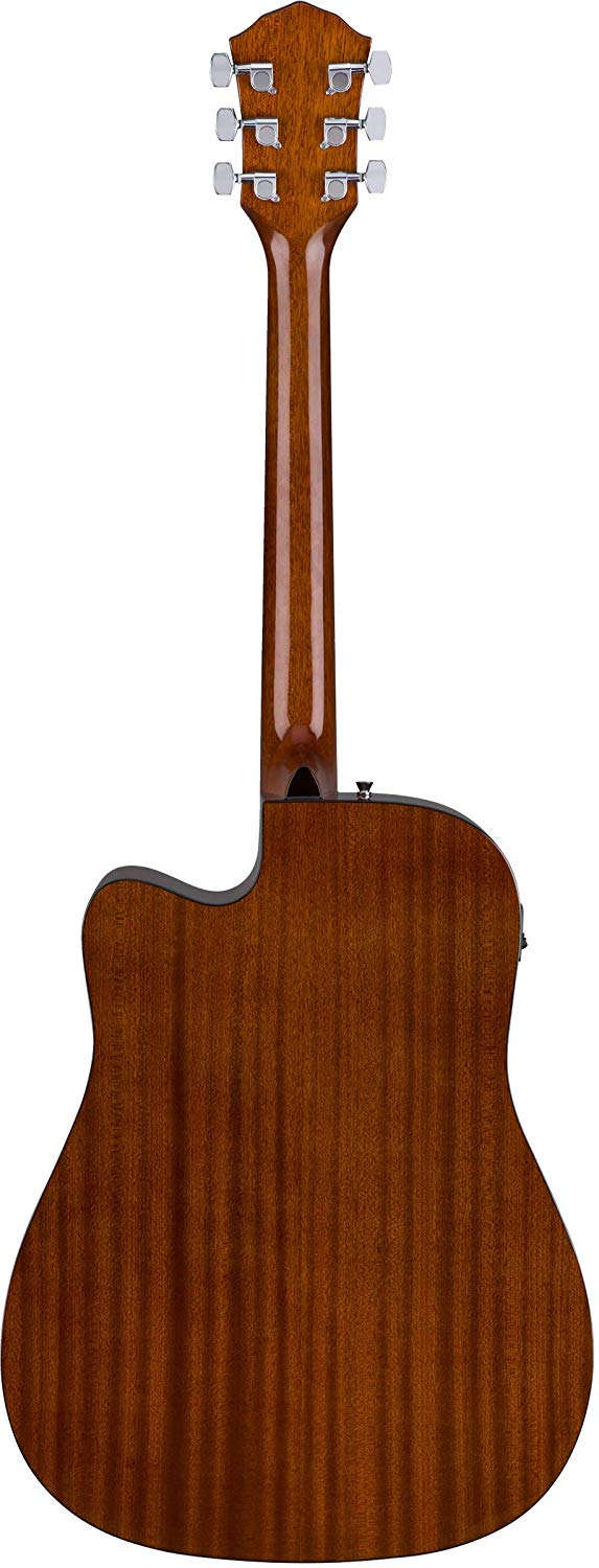 Rear View of the Natural Fender FA-125CE Dreadnought Cutaway AEG