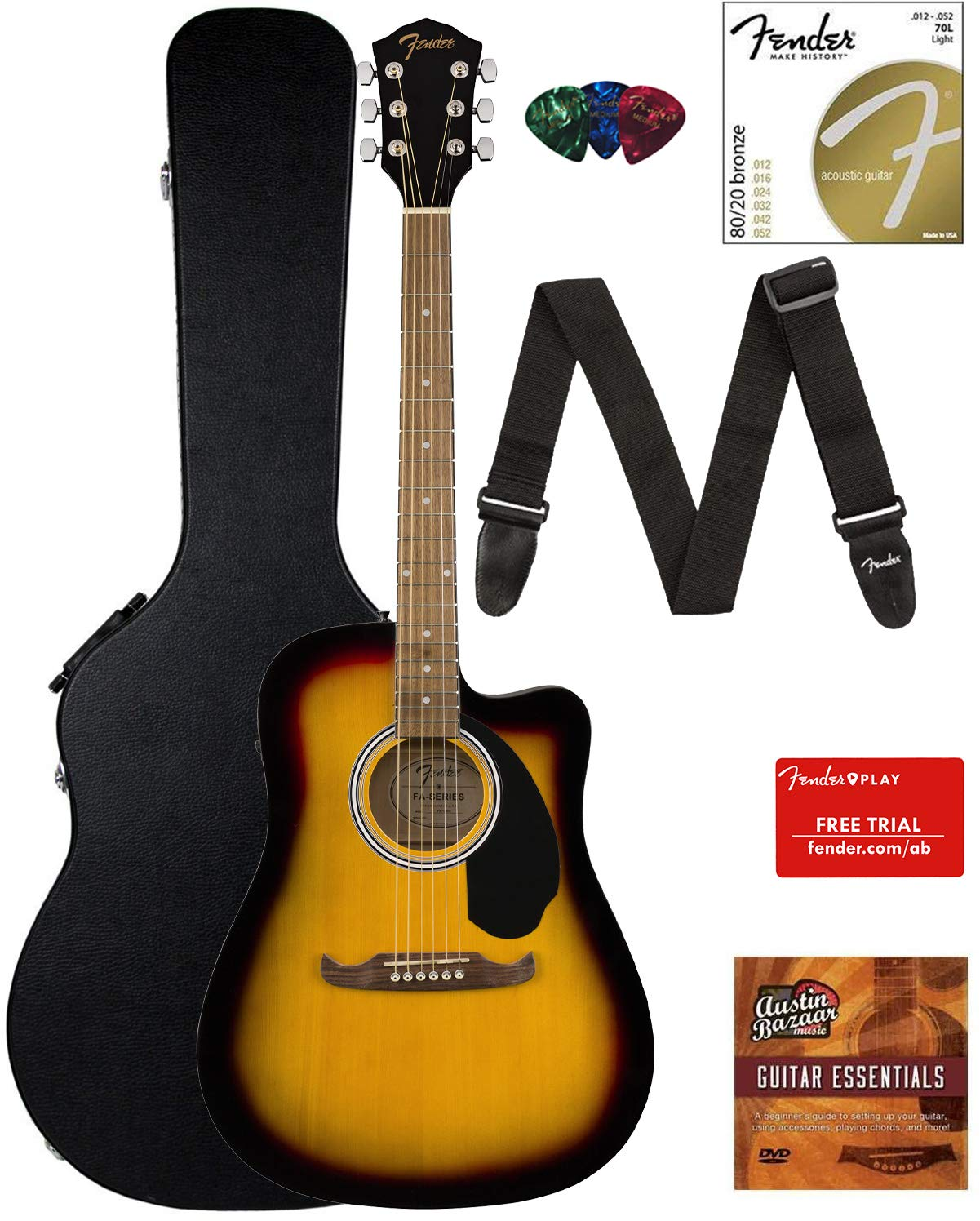 Contents of the Sunburst Fender FA-125CE Dreadnought Cutaway AEG Bundle with Hard Case