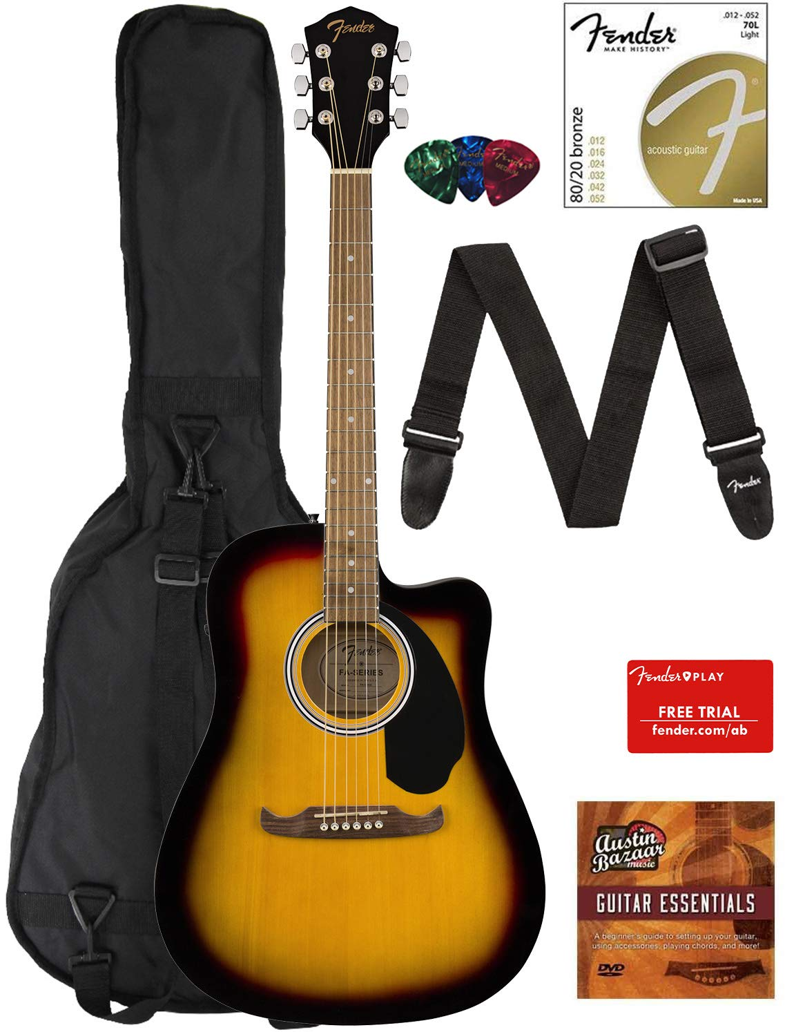 Contents of the Sunburst Fender FA-125CE Dreadnought Cutaway AEG Bundle with Gig Bag