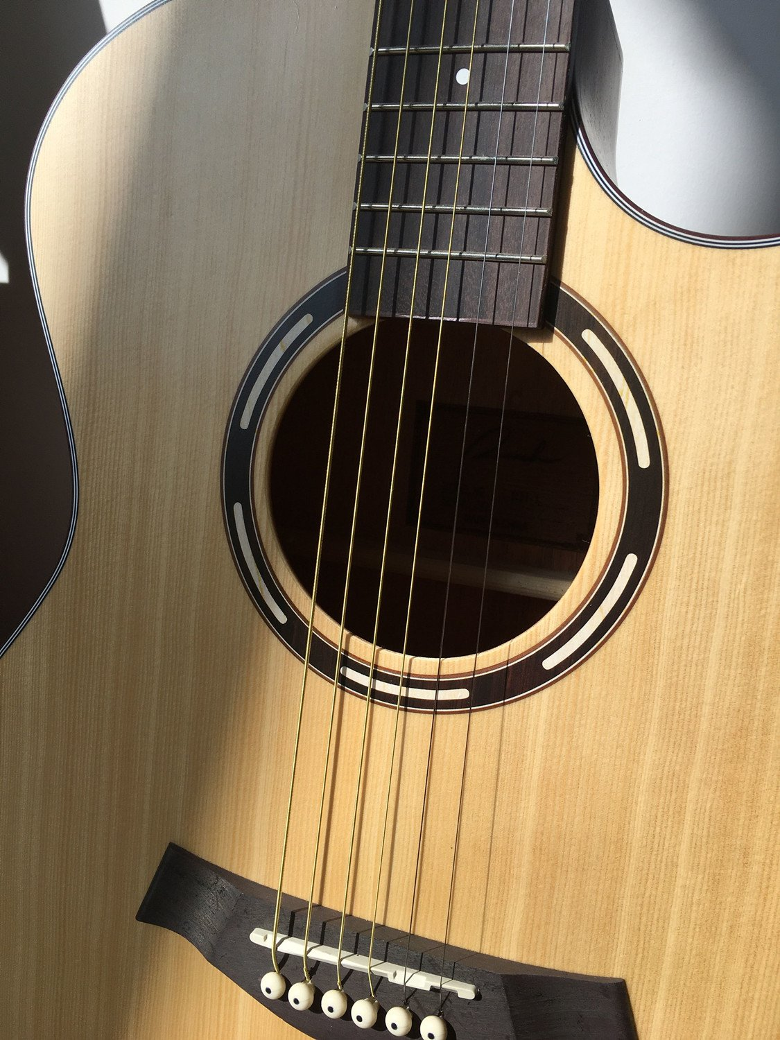 Close-up of the Guitar Ranch Full Size Grand Auditorium Acoustic Guitar Body