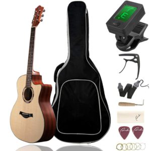 The Contents of the Guitar Ranch Full Size Grand Auditorium Acoustic Guitar Beginner Bundle