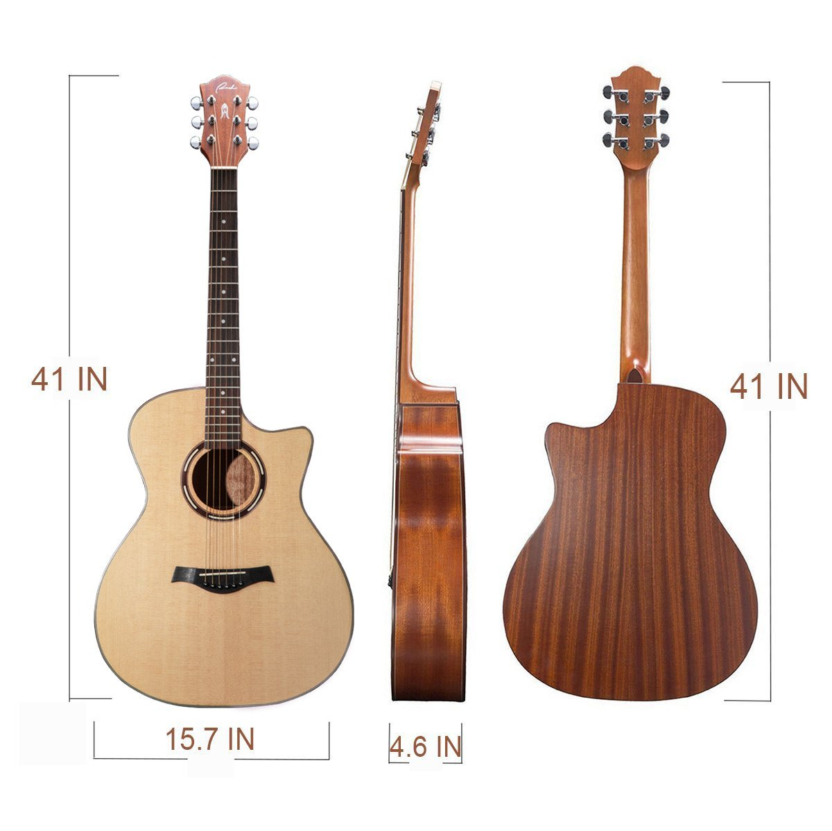 The Dimensions of the Guitar Ranch Full Size Grand Auditorium Acoustic Guitar