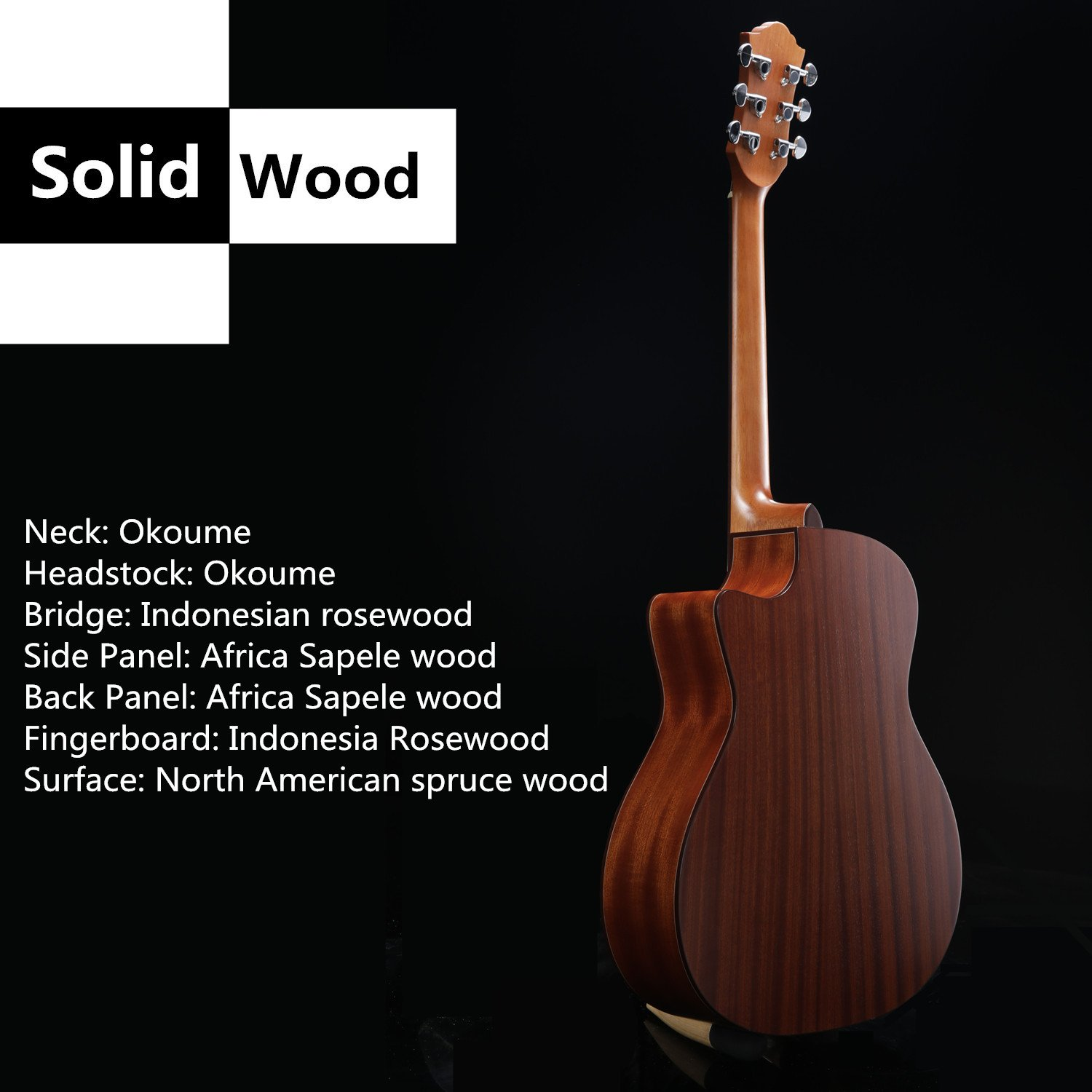 The Specs for the Guitar Ranch Full Size Grand Auditorium Acoustic Guitar