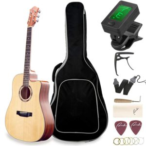 The Contents of the Guitar Ranch Full Size Cutaway Dreadnought Acoustic Guitar Beginner Bundle