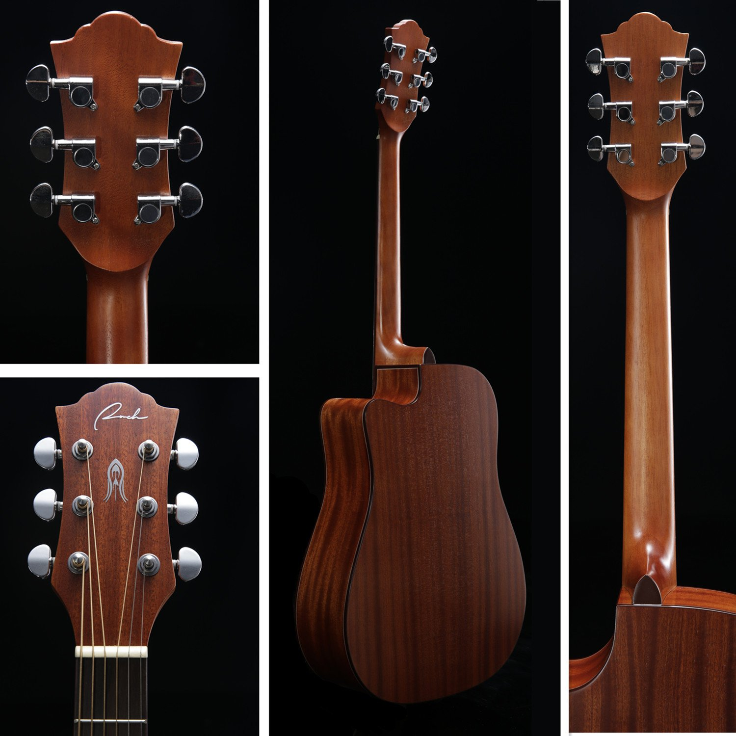 Different Views of the Guitar Ranch Full Size Cutaway Dreadnought Acoustic Guitar