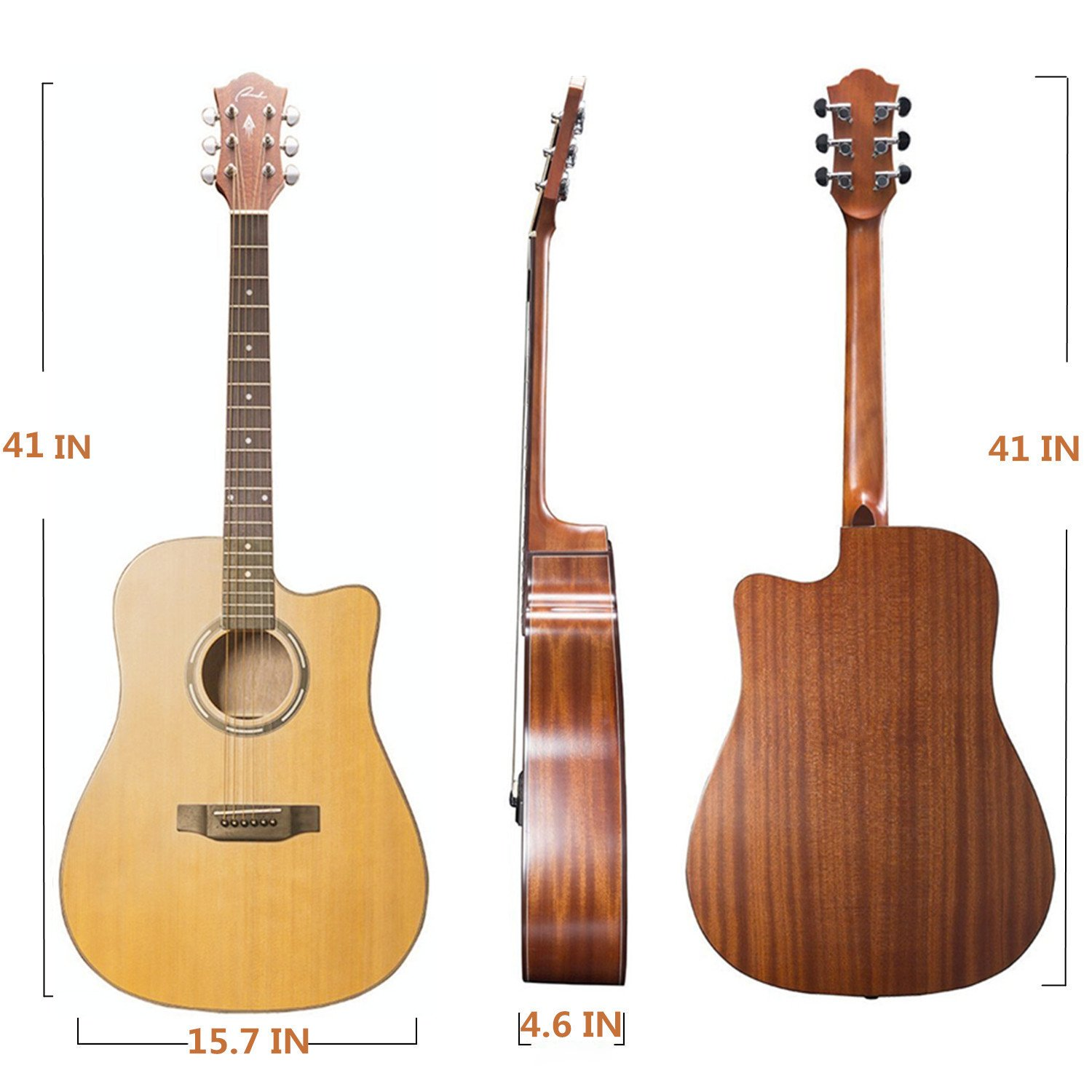 The Dimensions of the Guitar Ranch Full Size Cutaway Dreadnought Acoustic Guitar