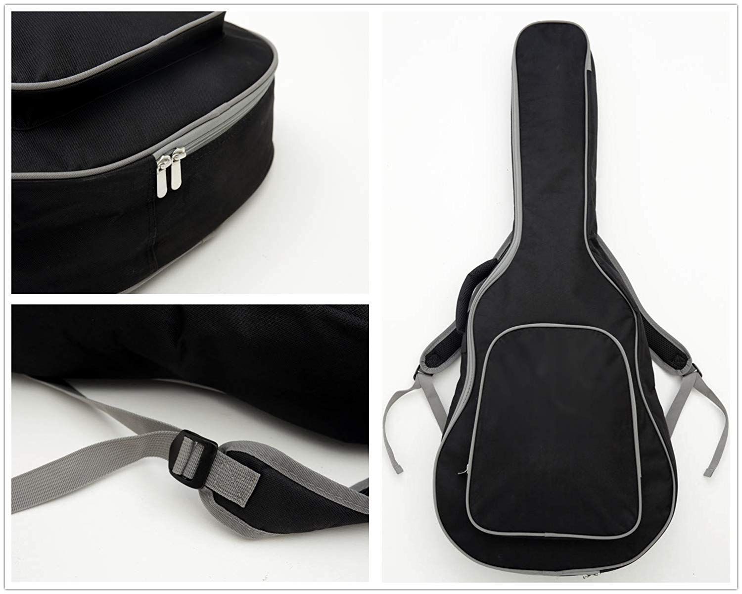 Multiple Views of the Guitar Bag that comes with the Guitar Ranch Full Size Cutaway Dreadnought Acoustic Guitar