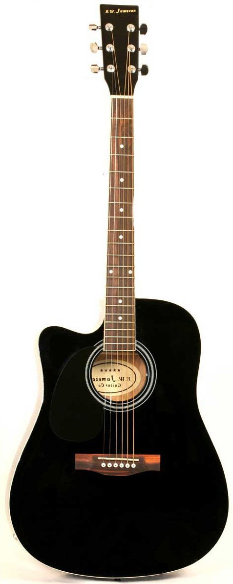Just the Left Handed Black Jameson Thinline AEG standing upright by itself
