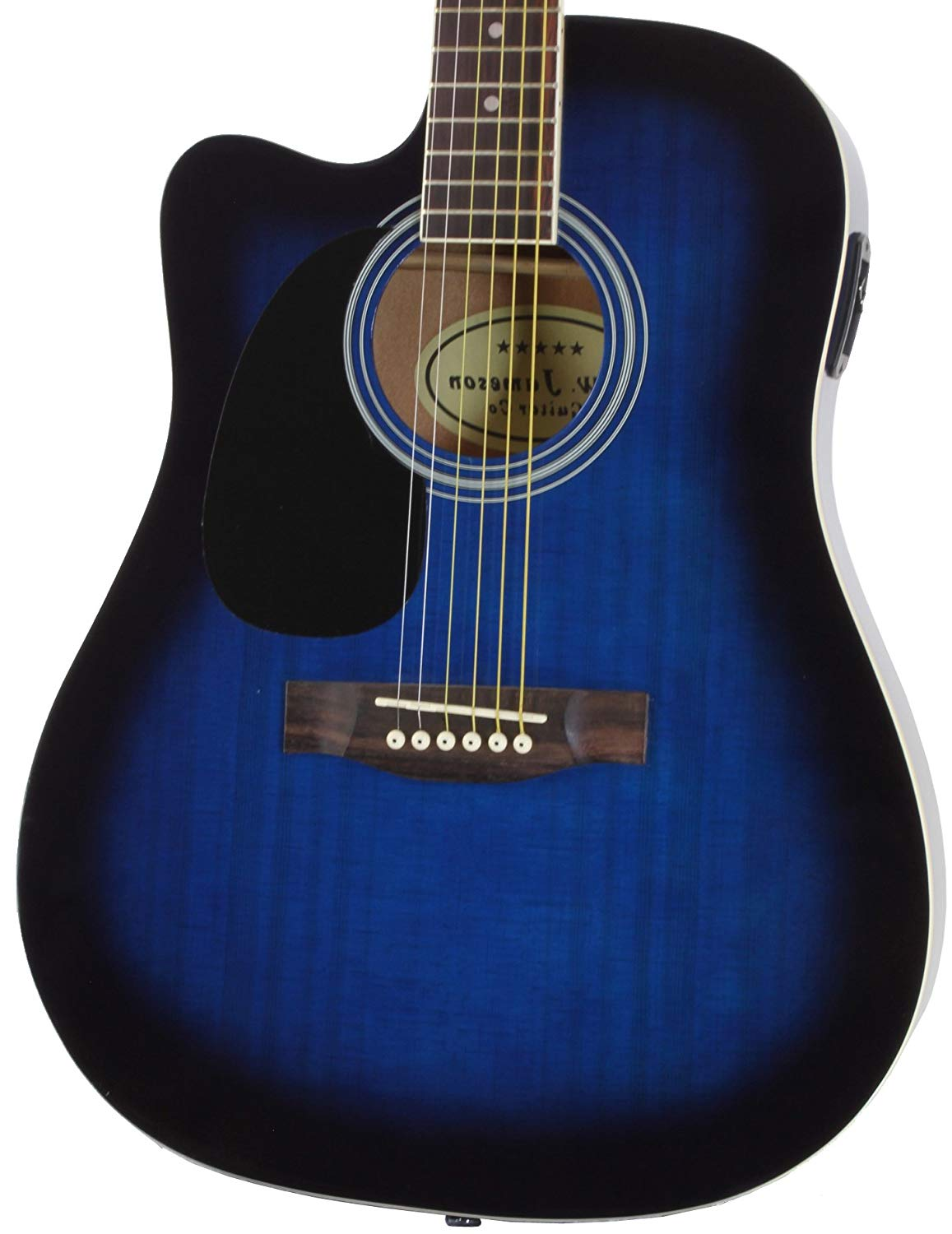 Close-up of the Left Handed Blue Jameson Thinline AEG