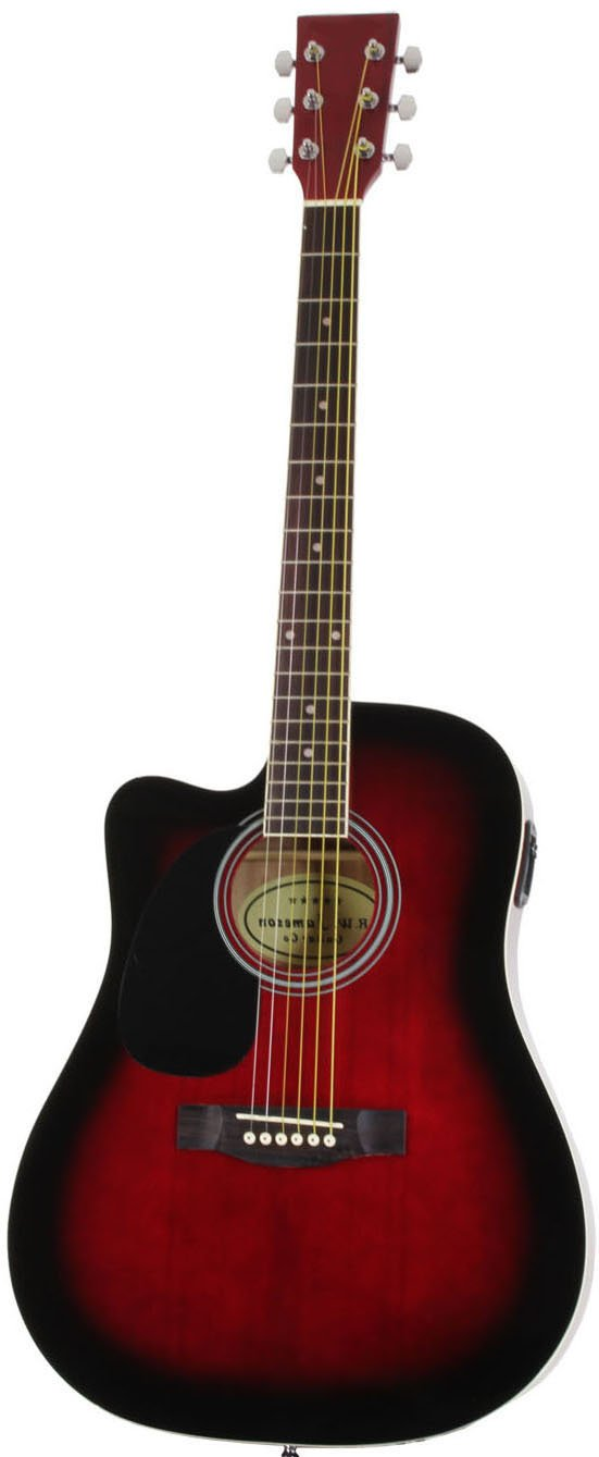 Just the Left Handed Red Jameson Thinline AEG standing upright by itself