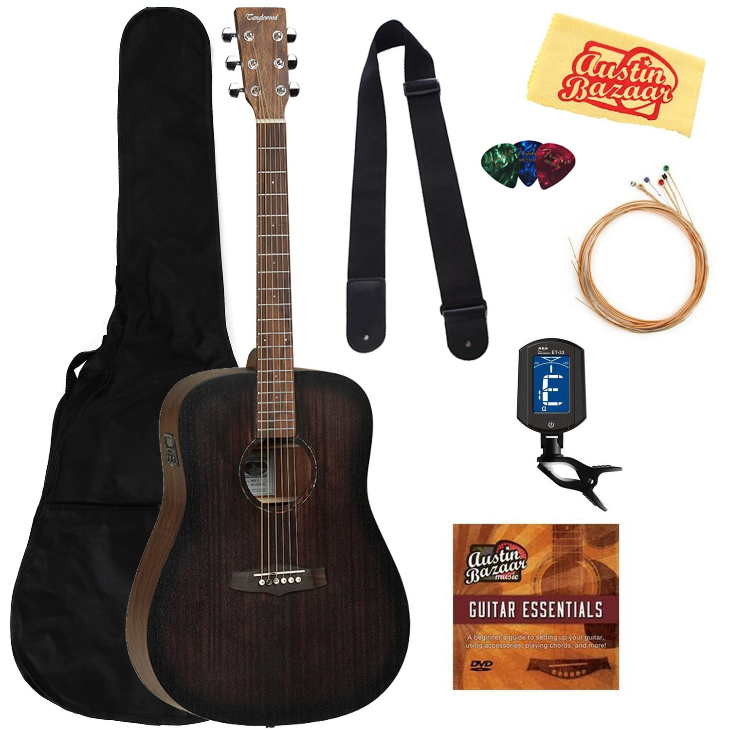 Showing package contents for the Tanglewood Crossroads Dreadnought EAG