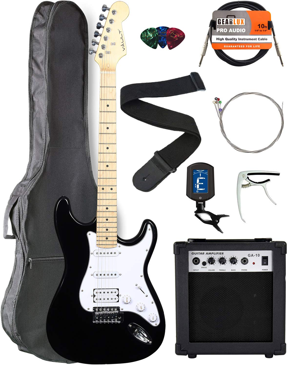 Contents of the Vault ST1-E Black Electric Guitar Bundle