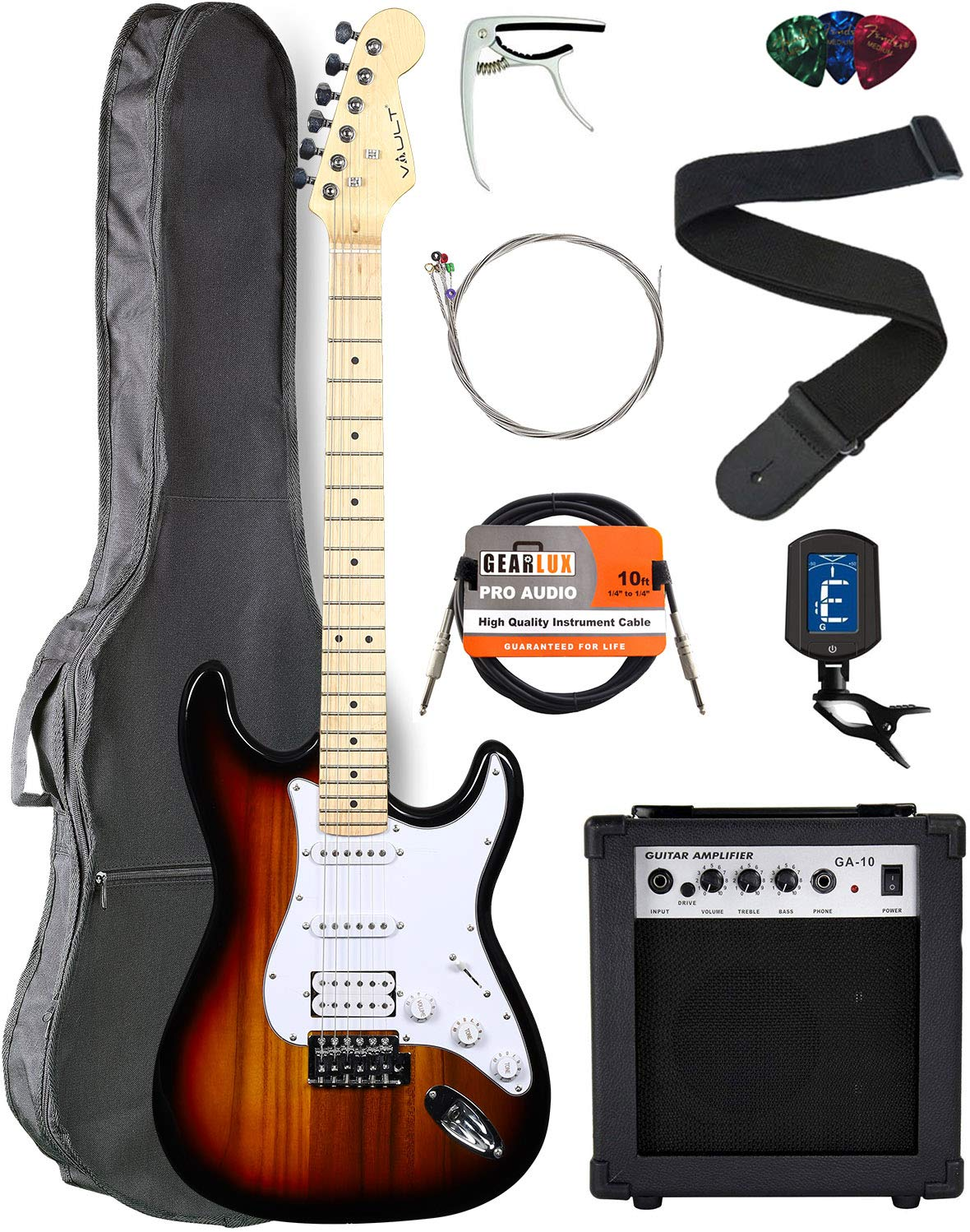 Contents of the Vault ST1-E Sunburst Electric Guitar Bundle