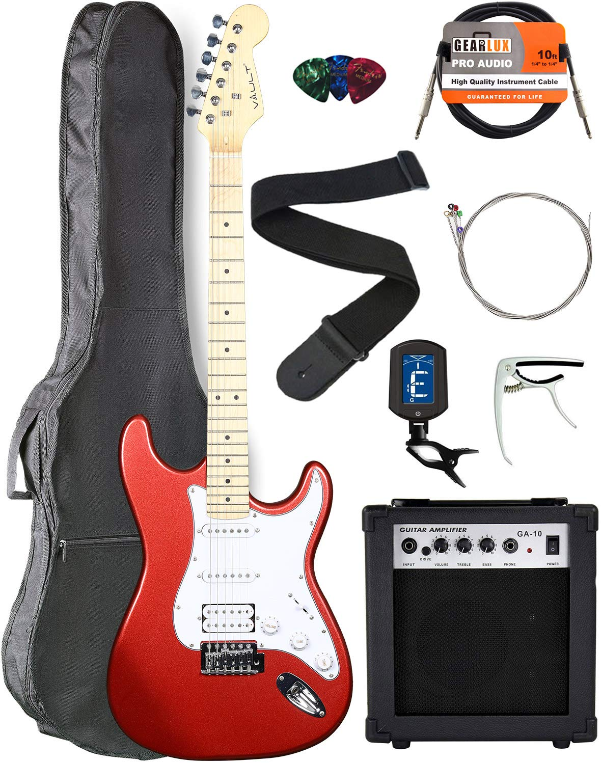 Contents of the Vault ST1 Metallic Red Electric Guitar Bundle