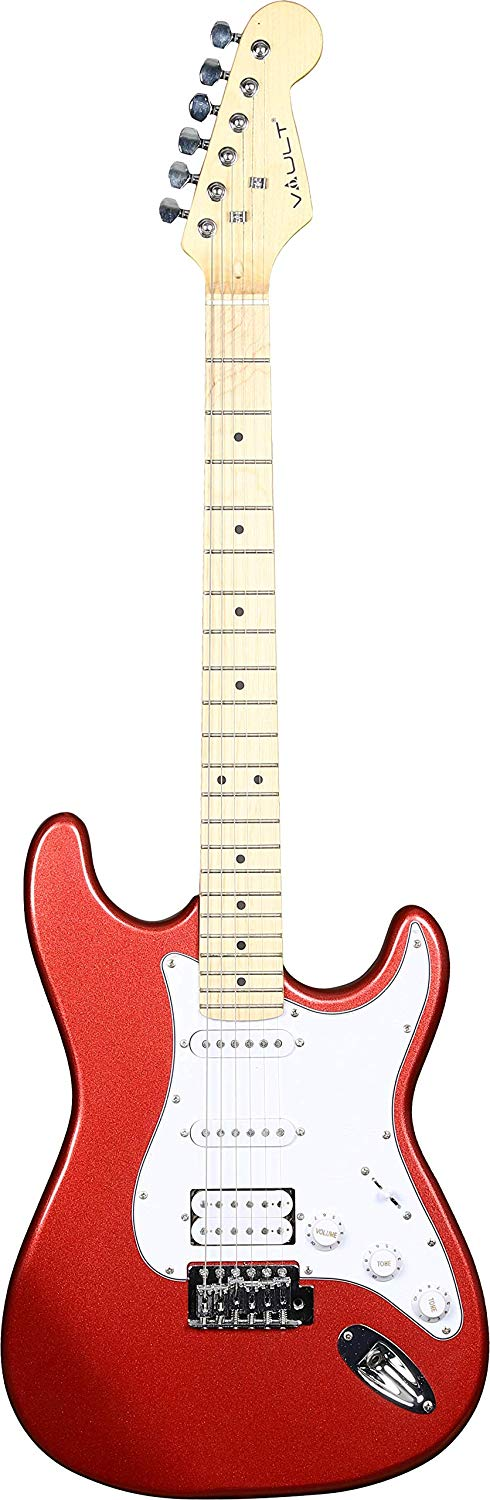 Front View of the Vault ST1 Metallic Red Electric Guitar