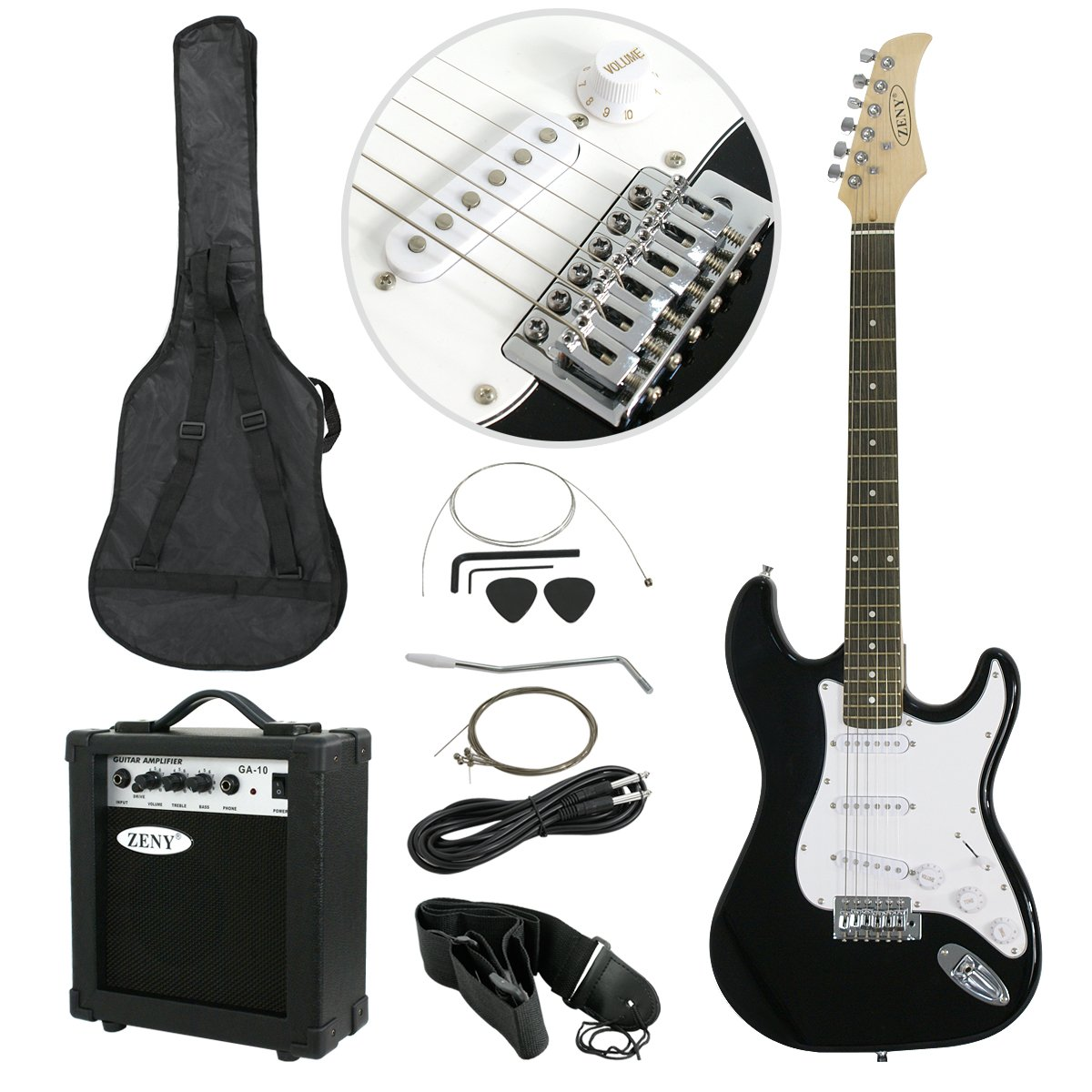 Showing all of the Contents for the Black ZENY Electric Guitar