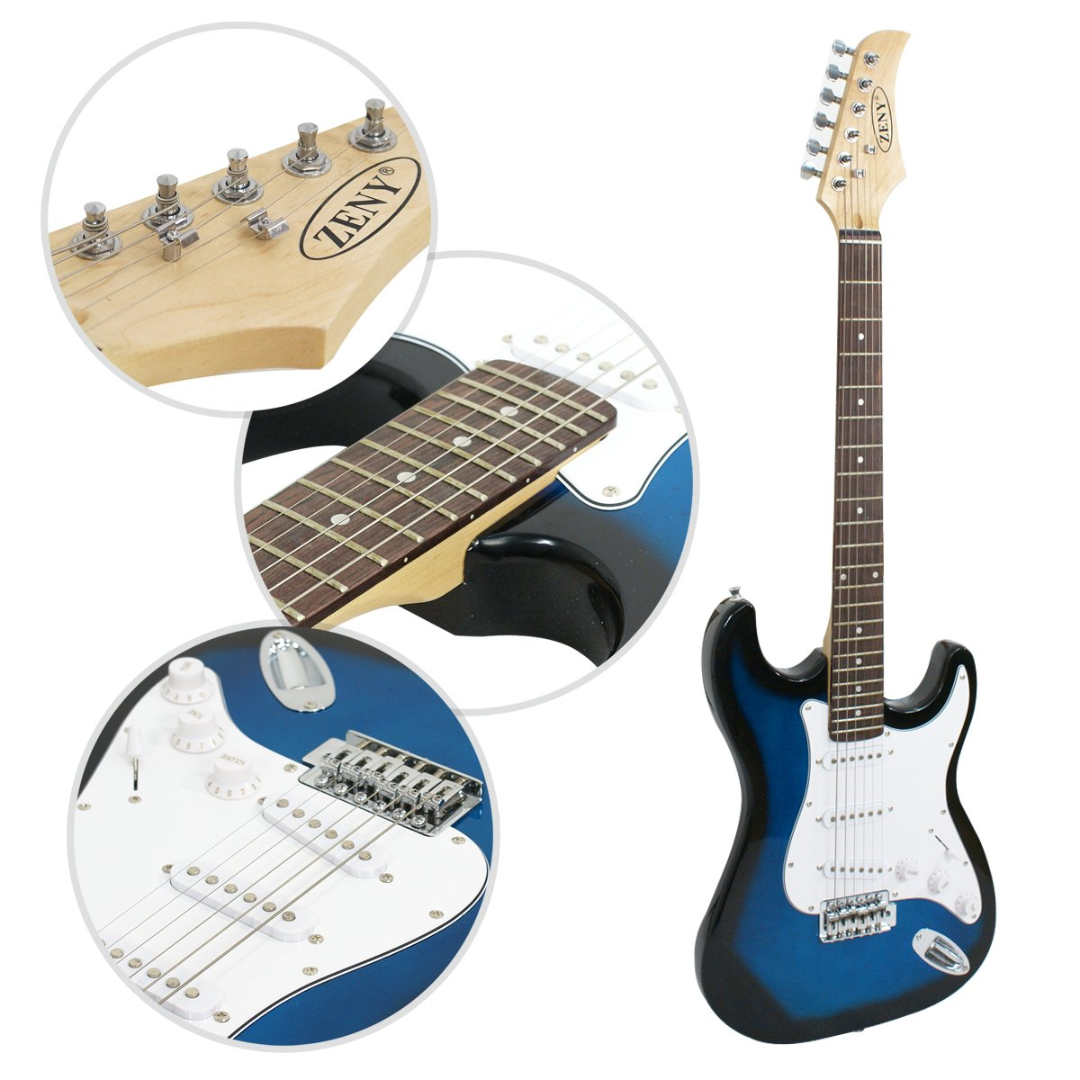 Close-ups of the Blue ZENY Electric Guitar