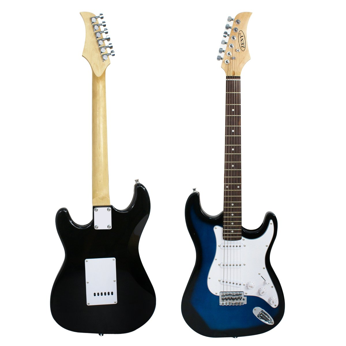 Front and back of the Blue ZENY Electric Guitar
