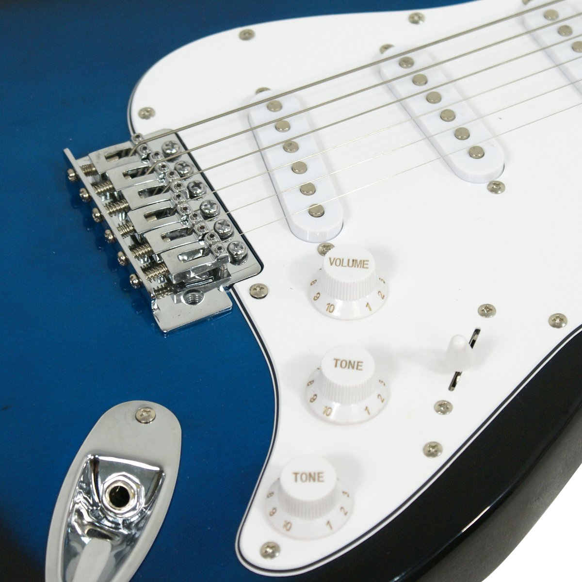 Close-up of the Dial knobs on the Blue ZENY Electric Guitar